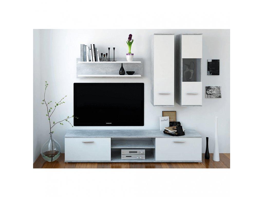 Obývací stěna, beton / bílá, WAW