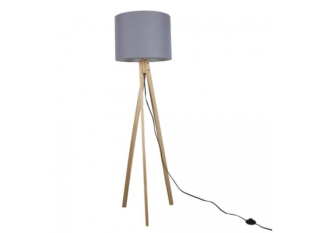 Stojací lampa, šedá / přírodní dřevo, LILA TYP 7