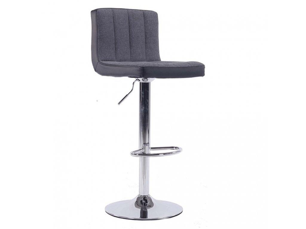 Barová židle, šedá / černá / chromovaná, HILDA