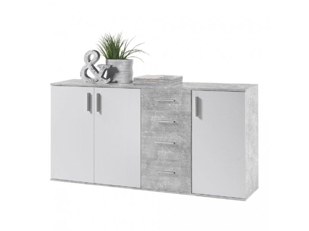 Komoda, bílá / beton, POPPY 3