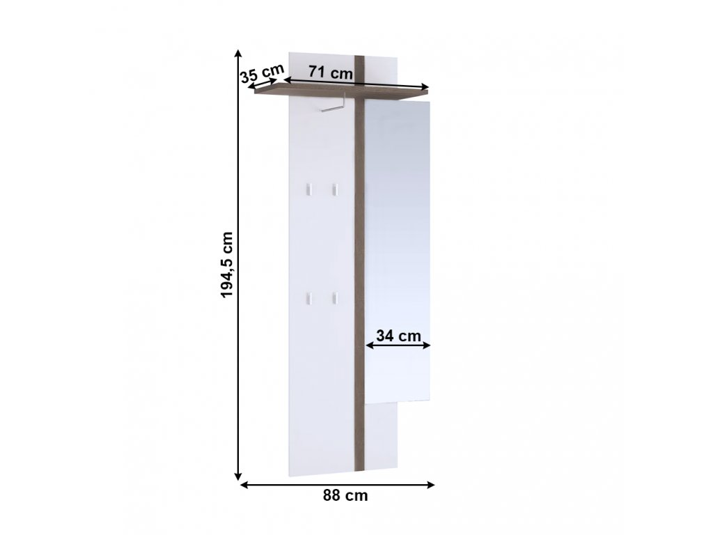 Věšákový panel se zrcadlem, bíla,, LYNATET TYP 115