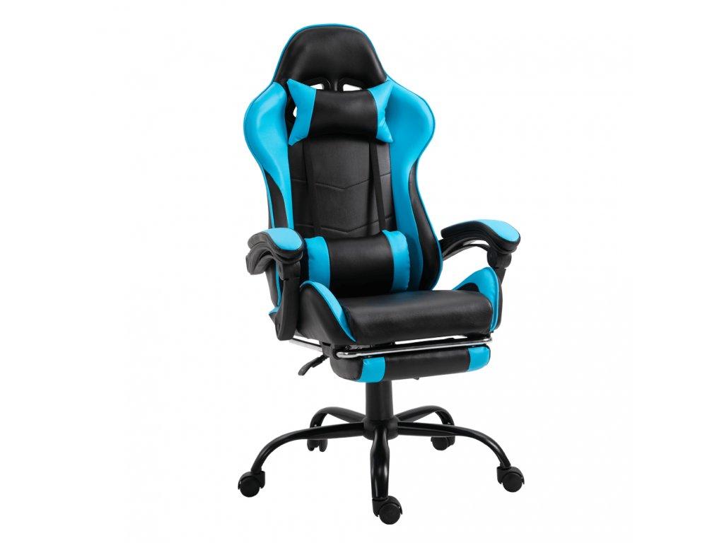 Kancelářské / herní křeslo s podnoží, černá / modrá, Tarun