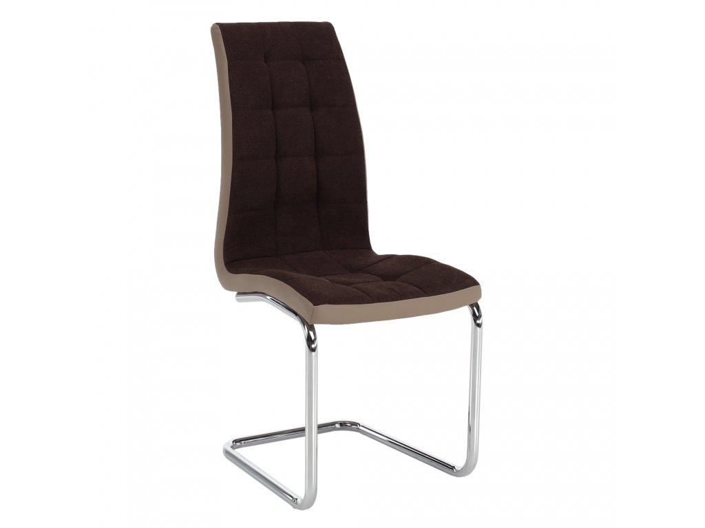 Jídelní židle, hnědá látka / ekokůže béžová / chrom, SALOMA NEW