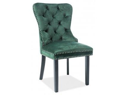 Jídelní čalouněná židle AUGUST VELVET zelená/černá