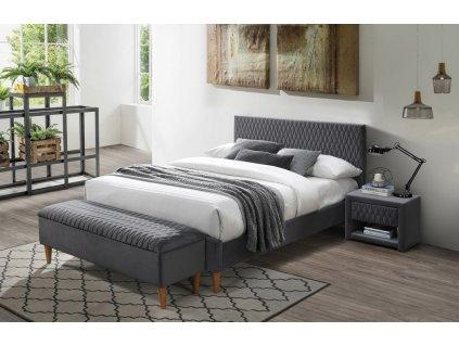Čalouněná postel AZURRO VELVET 160x200 šedá/dub