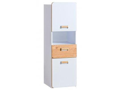 LIMO L4 skříňka se zásuvkou bílá/dub nash