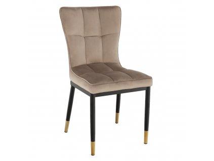 Designová jídelní židle, béžová Velvet látka, EPONA