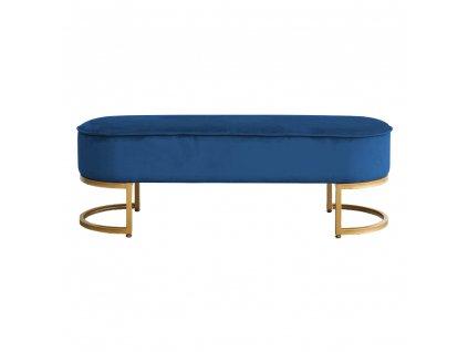Designová lavice, modrá Velvet látka / gold chrom-zlatý, MIRILA