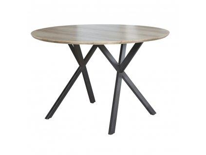 Jídelní stůl, dub šedý/černá, AKTON