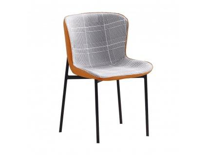 Jídelní židle, šedobílé káro / camel látka / ekokůže, Adiana
