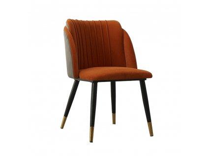 Židle, terakota, šedá Velvet látka / černá, KIRIA