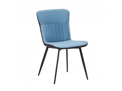 Jídelní židle, ekokůže, modrá / hnědá, KLARISA