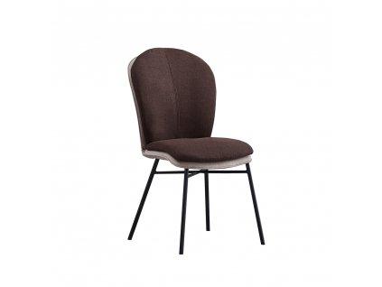 Jídelní židle, terakota / tmavě šedá látka / černý kov, KIMEA
