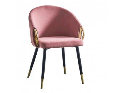 Designové křeslo, růžová velvet látka / gold chrom zlatý, DONKO