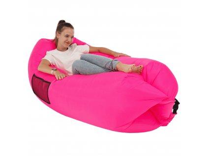 Nafukovací sedací vak/lazy bag, růžová, LEBAG