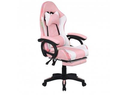 Kancelářské / herní křeslo s RGB LED podsvícením, růžová / bílá, JOVELA