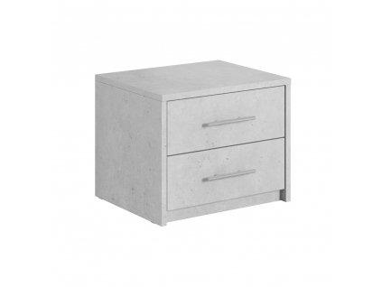Noční stolek, ABS hrany, šedý beton, ALDEN