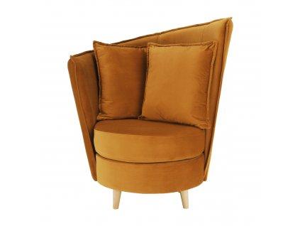 Křeslo ve stylu Art Deco, hořčicová Riviera látka / dub, ROUND NEW