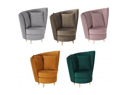 Křeslo ve stylu Art Deco, růžová Kronos látka / dub, ROUND NEW