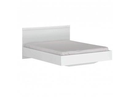 Manželská postel, 160x200, bílý lesk, LINDY