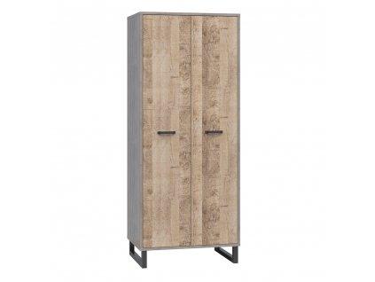 Předsíňová skříň, dub pískový / šedá, BARIA 2D/80