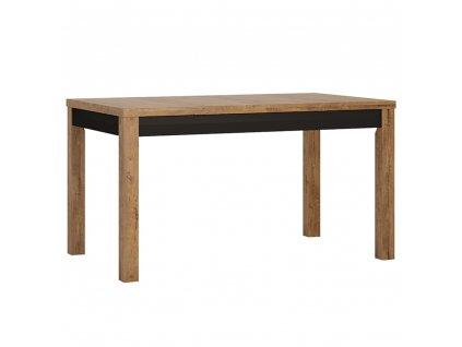Rozkládací jídelní stůl, dub lefkas tmavý / černý mat, LUCITA HAVT02