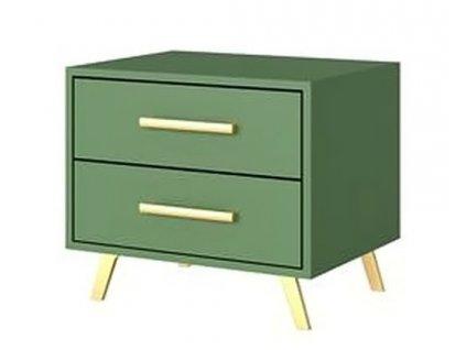 Noční stolek 2S BASILIO zelená