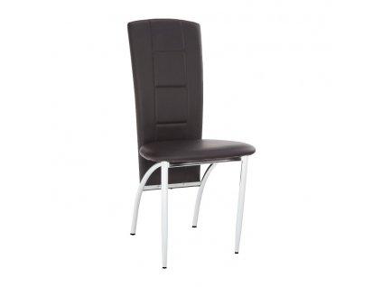 Židle, ekokůže tmavěhnědá / chrom, FINA