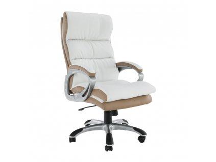 kancelářské křeslo, ekokůže PU bílo-hndedá, KOLO CH137020