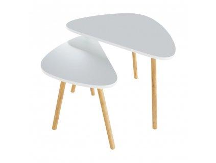 Konferenční stolky, set 2 ks, bílá / přírodní, BISMAK