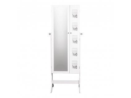 Zrcadlo s úložným prostorem na bižuterii, bílá, CANINI