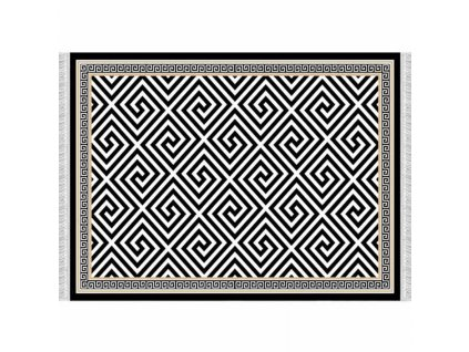 Koberec, černo-bílý vzor, 80x150, MOTIVE