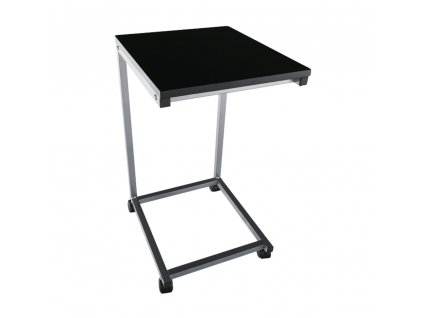 Příruční stolek, černá/kov stříbrná, MANNY