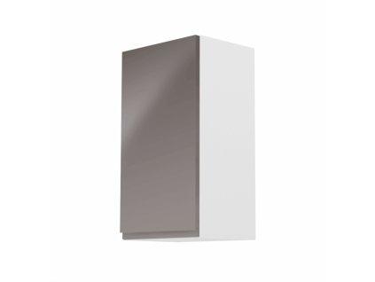 Horní skříňka, bílá / šedý extra vysoký lesk, levá, AURORA G40