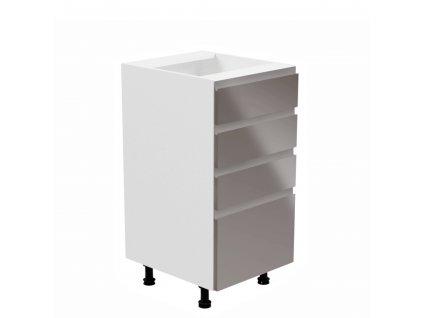 Spodní skříňka, bílá / šedá extra vysoký lesk, levá, AURORA D40S4
