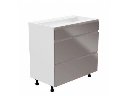 Spodní skříňka, bílá / šedá extra vysoký lesk, levá, AURORA D80S3