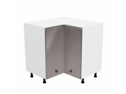 Spodní rohová skříňka, bílá / šedá extra vysoký lesk, AURORA D90N