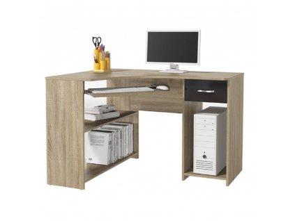 Rohový PC stůl, dub sonoma/černý lesk, UMAG