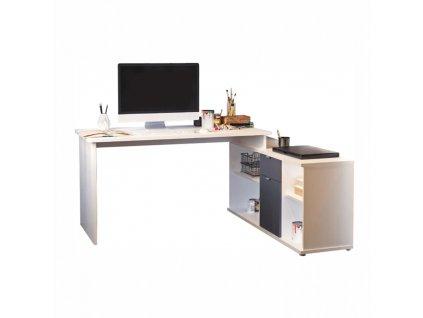 Psací stůl, bílá / šedá, DALTON 2 NEW VE 02
