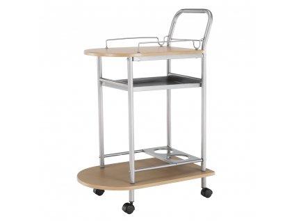 Servírovací stolek, buk/stříbrný, LIMA