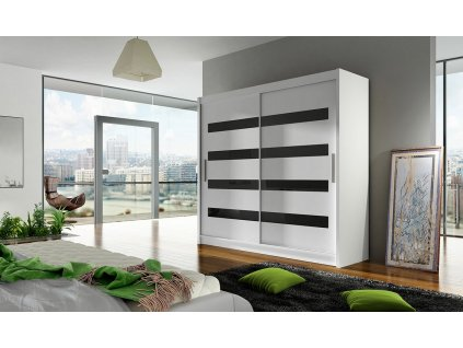 Šatní skříň BURGAS XI bílá/černá