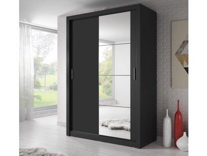 Šatní skříň 04 ARTI 150 černá zrcadlo