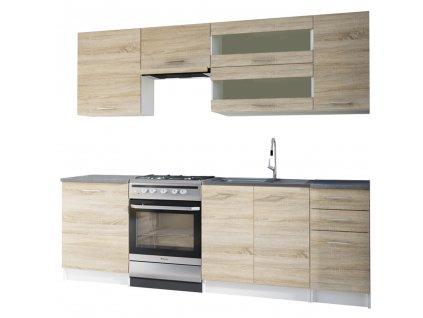 Kuchyňská linka 2,4m, dub sonoma / bílá, FABIANA