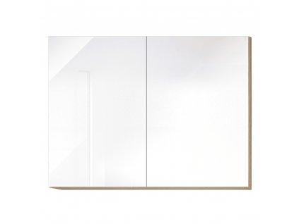 Horní skříňka G 80, vysoký bílý lesk/dub sonoma, LINE