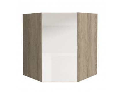 Skříňka horní GR, vysoký bílý lesk/dub sonoma, LINE