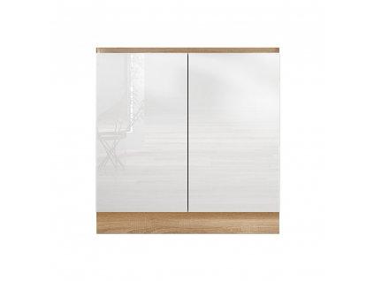 Dolní skříňka D 80 ZL, vysoký bílý lesk/dub sonoma, LINE