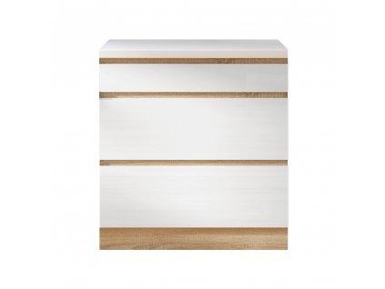 Dolní skříňka D 80 3, vysoký bílý lesk/dub sonoma, LINE