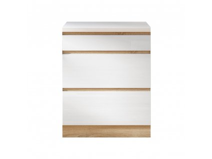 Dolní skříňka D 60, vysoký bílý lesk/dub sonoma, LINE