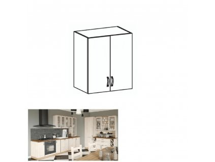 Horní skříňka, bílá / sosna skandinávská, ROYAL G60