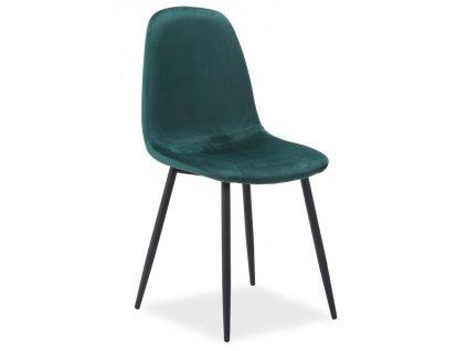 Jídelní čalouněná židle FOX VELVET zelená/černá